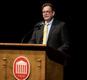 Dr. Stefan Schulenberg describe the efforts of the disaster resilience team at the debut of the UM Flagship Constellations initiative. Photo by Thomas Graning